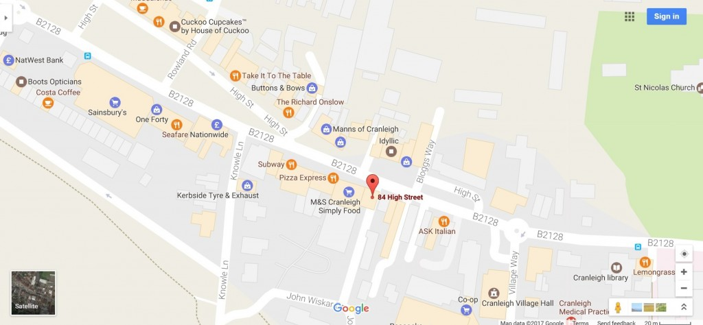 Map of Lynn Murray & Co Solicitors location at 84 High Street, Cranleigh, Surrey